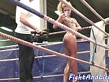 Lesbian euro wrestles while oiledup