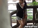 Naughty Japanese voyeur films babes peeing around town