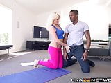 Hot yoga instructor having interracial