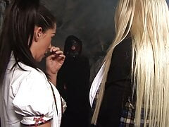 Blonde and brunette sluts get horny in a mine and fuck dude