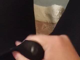 Crossdresser cumming in shiny black tights...