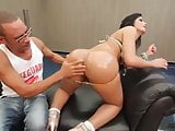 Posh booty shemale gets real monster cock