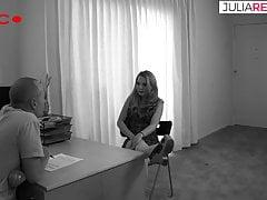 Blonde secretary rides her boss's cock