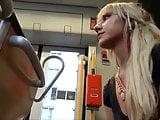 Girl jerks a lucky guy cock on the bus