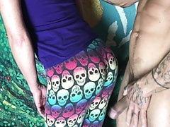 CFNM dick play in yoga pants