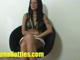 Tattooed brunette at the first casting ever