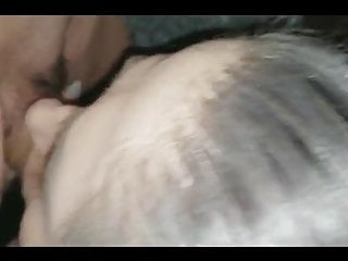 Submissive girl gives head during...