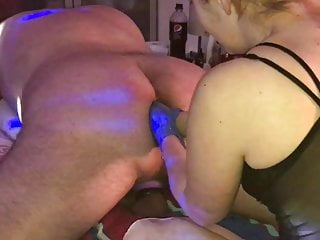 Femdom wife fists man fist and huge dildo...