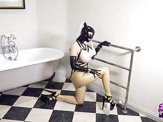 Latex Harnessed Bathroom Slave