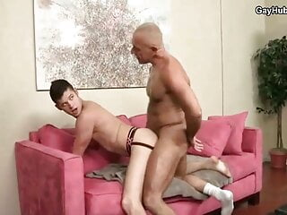 Mature daddy have anal fun with cute twink. Hot gay porn
