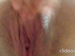 Amateur gf masturbates wet pussy closeup moaning