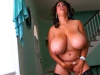 Huge Titted Pornstar masturbates while standing