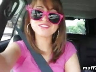 Riley Reid having fun it the car