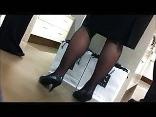 Milf store supervisor legs voyeur