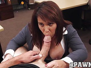 Big breasted MILF doggystyled in the pawnshop for cash
