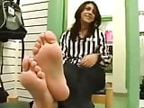 Indian at work shows us her delicious feet