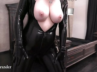 Black Latex Fetish rubber Catsuit and Over Knee Boots Video