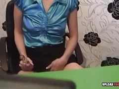 Smoking blonde enjoys her glass sex toy