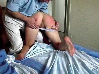 Spanked in humiliating position for porn magazine...