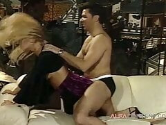 Old school fucking with a curly blonde