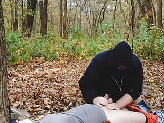 At public park woods and exposed by stranger