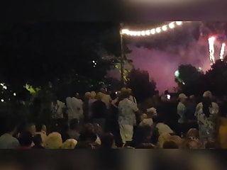 Watching fireworks display...