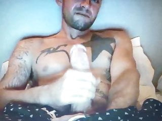 Hot sexy tattooed straight muscle guy edging huge hung dick