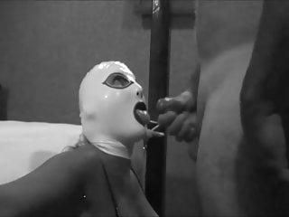 Swap Cum Black BJ Mask Latex Hood White