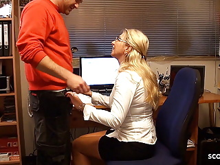 German Old Seduce Younger Employee to Bang for pay Invoice