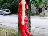 RED LATEX CATSUIT - saf