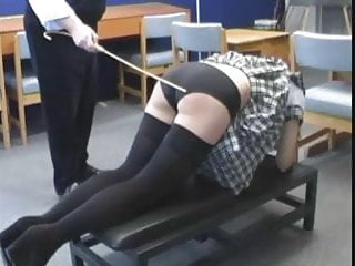 Disciplined with the cane, sternly but not severely.