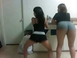 2 sexy horny young shaking their asses 2...
