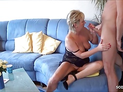 German mature secretly cheats with young neigbor