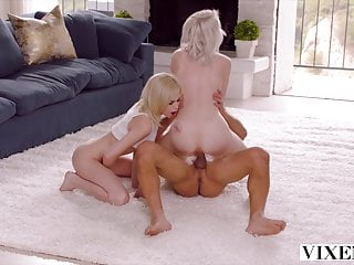 VIXEN Petite blonde besties seduce a married man