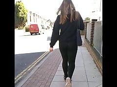 Candid Butt In Leggings