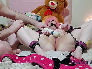 Cute and Chubby Girl Tied Up, Orgasm Torture and Spanking