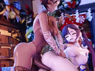 Genshin Impact - Xinyan gives Mona her BBC (Futanari)