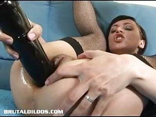 Short haired russian filling her ass...