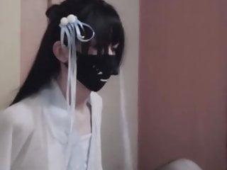 Crossdresser Hanfu dress masturbate by stocking covered hand