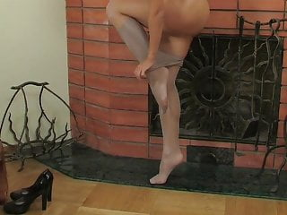 Changing pantyhose and rubbing