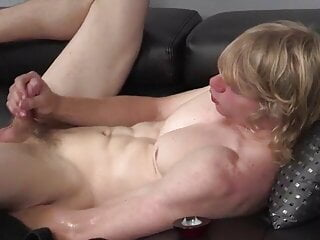 Straight 23 year old blonde likes a vibrator in his butt